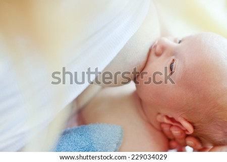 mother feeding her newborn with breast - stock photo