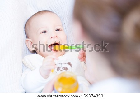 Mother feeding with spoon her adorable baby boy  - stock photo
