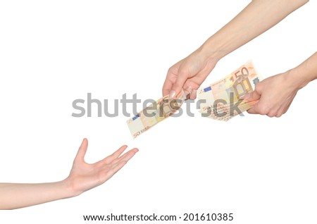 Mother gives to child kid pocket money for school hands with euro banknotes isolated on white - stock photo