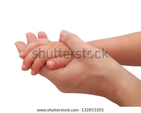 Mother hand holding baby hand with care and love. Closeup isolated on white background