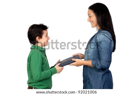 Mother handing a book to his son isolated on white background - stock photo