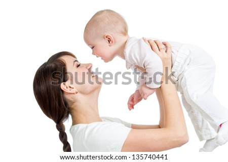 mother having fun with her daughter isolated - stock photo