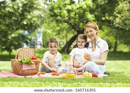 Mother having picnic with her children - stock photo