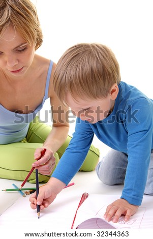Mother help her son with drawing.