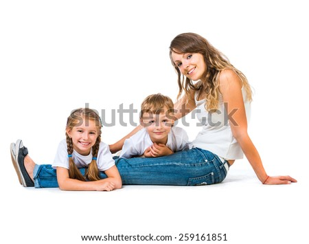 mother, her son and daughter. Isolated on white background - stock photo