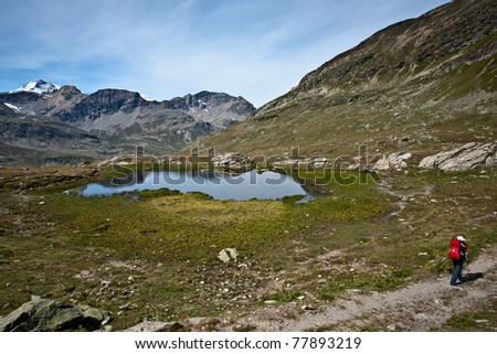mother hiking with childcarrier with baby in swiss alps - stock photo