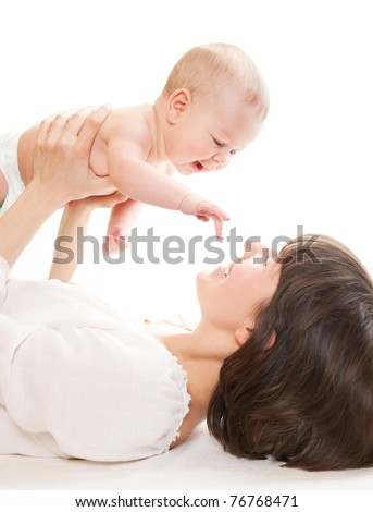 Mother hold newborn baby on white - stock photo