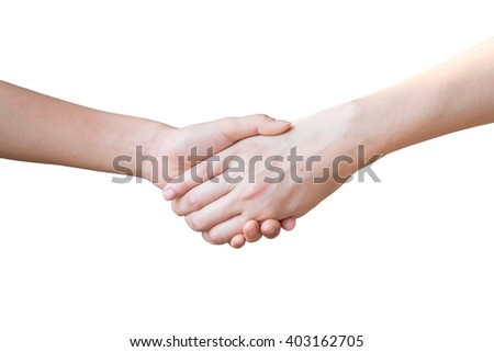 Mother holding a hand of her son; isolated