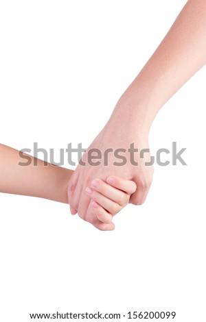 Mother holding a hand of her son isolated on white background - stock photo