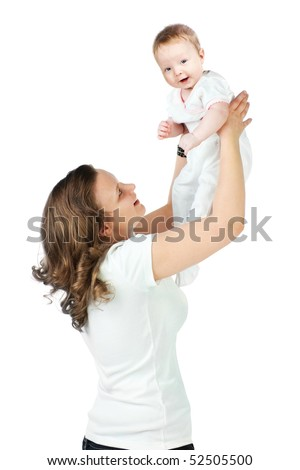 Mother holding baby in his arms - stock photo