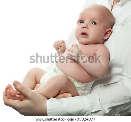 mother holding baby isolated on white studio shot - stock photo