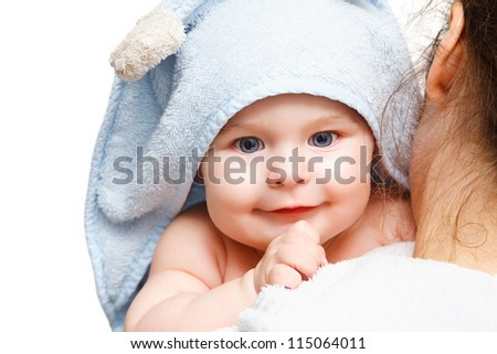 Mother holding baby on white background - stock photo