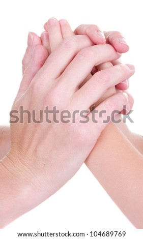 Mother holding childs hands, Isolated on white - stock photo