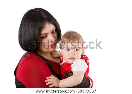 Mother holding crying baby tear falling isolated on white