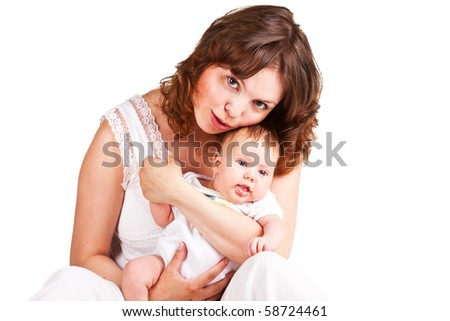 Mother holding her adorable baby - stock photo