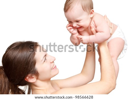 Mother holding her baby - stock photo