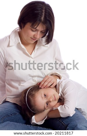 Mother holding her daughter
