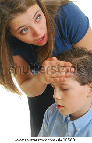 mother holding sick child isolated on white. - stock photo