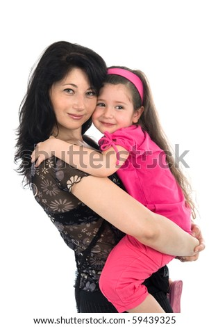 Mother holds on hands of the small daughter