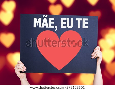 Mother I Love You (in Portuguese) card with heart bokeh background - stock photo
