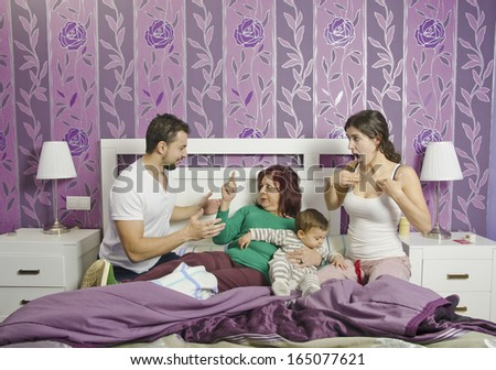 Mother in law in home bedroom, Couple problems concept.