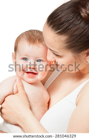 Mother is holding baby
