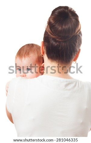 Mother is holding baby - stock photo