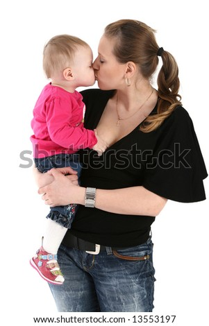 Mother kissing her child, isolated on white background