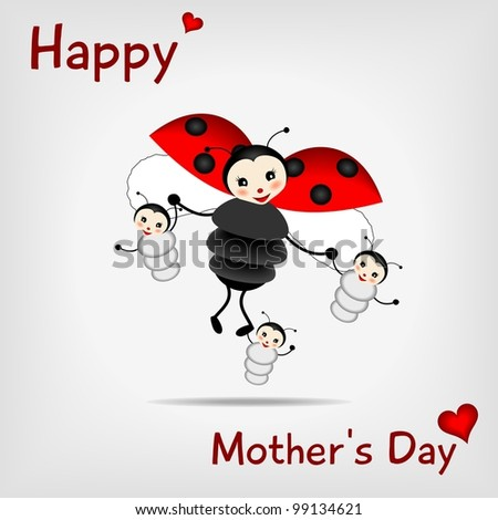 mother ladybug with three babies and text HAPPY MOTHER'S DAY  - bitmap copy