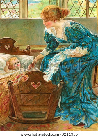 Mother leaning over baby in crib - circa 1880 vintage illustration