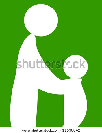 Mother mom baby kid symbol on green background - stock photo