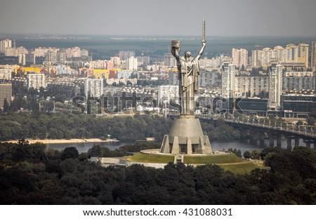 Mother Motherland, Kiev, panorama Kiev, Ukraine  - stock photo