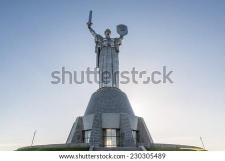 Mother Motherland monument - part of Museum of the Great Patriotic War in Kiev, Ukraine - stock photo