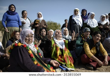 Mother of Kurdish fighters around Turkey - Syria border Suruc district 20 October 2015 , Turkey , Sanliurfa. - stock photo
