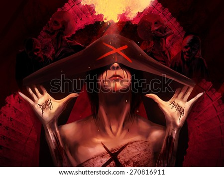 Mother of war. Fantasy horror woman in black hood with scars and wounds on her hands with skeleton zombie creatures and fire background art illustration. - stock photo