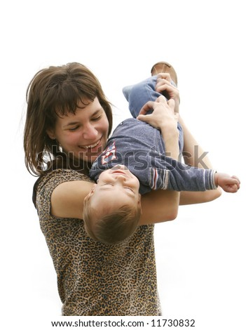 mother playing with her son over white