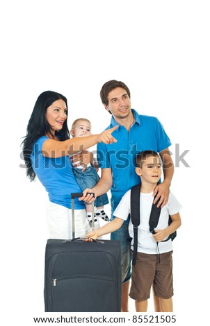 Mother pointing away and showing to her family  a destination  isolated on white background - stock photo