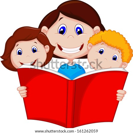 Mother reading book to her children - stock photo