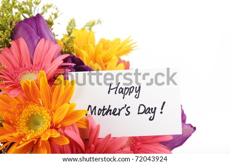 Mother's Day Concept-- Post card with colorful flowers. - stock photo