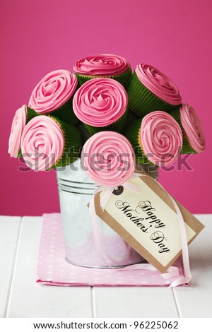 Mother's day cupcake bouquet - stock photo