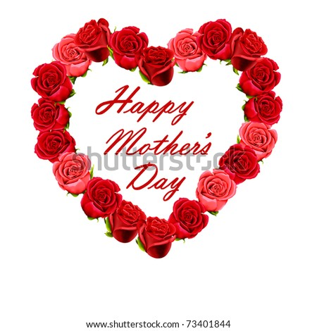 Mother's Day heart made of red roses - stock photo