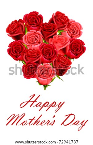 Mother's Day heart shaped posy of red roses - stock photo
