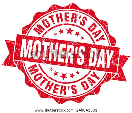 mother's day red grunge seal isolated on white - stock photo