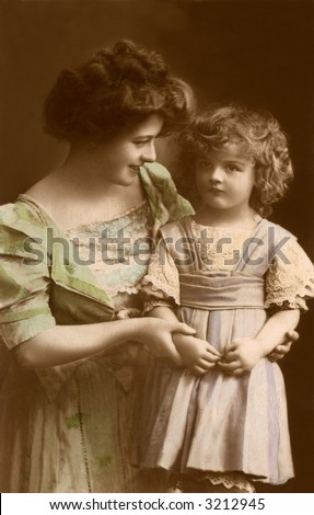 Mother's little Sweetheart - circa 1914 vintage hand-tinted photo - stock photo