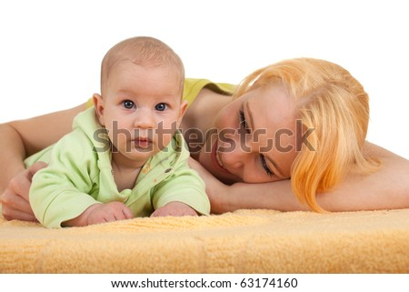 mother's love -  cute baby 2 month boy with mother - stock photo