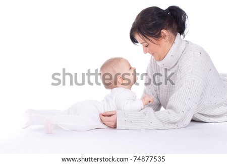 mother's love -  cute baby 7  month boy with mother