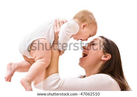 Mother's love. Cute little baby with mother. - stock photo