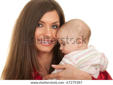 mother's love -  cute 4 months old baby boy with mother - stock photo