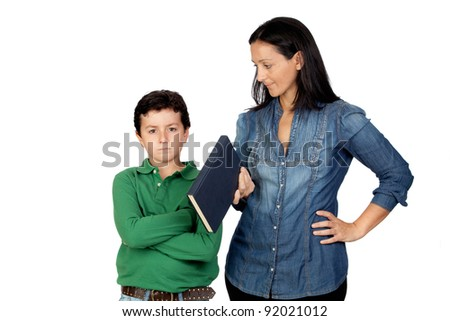 Mother saying his anger child to read a book isolated on white background