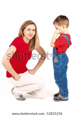 Mother scolding her son on White Background - stock photo